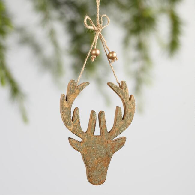 Wood Glitz Stag Head Ornaments Set of 2
