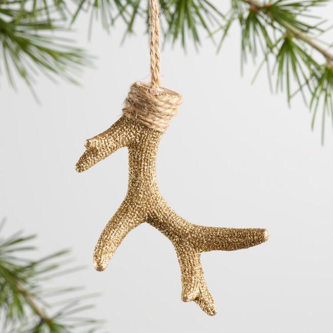 Gold, Champagne and Copper Glitter Antler Ornaments Set of 3