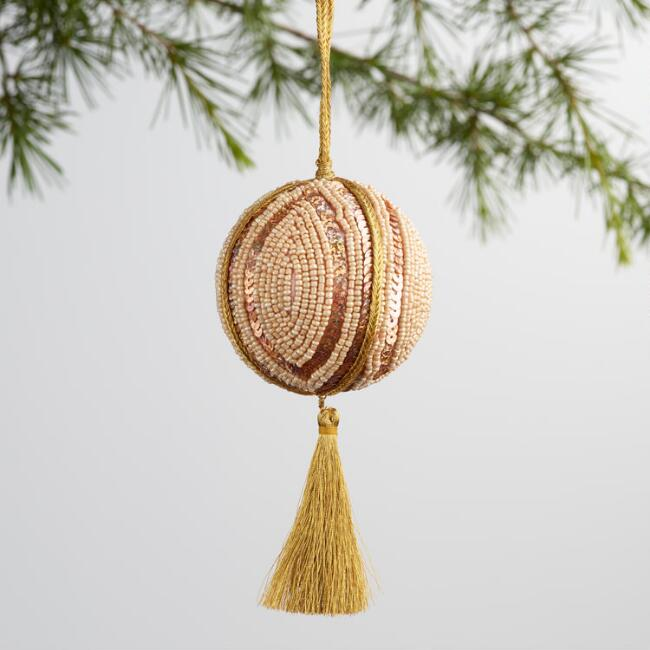 Silver and Gold Beaded Tassel Ball Ornaments Set of 2