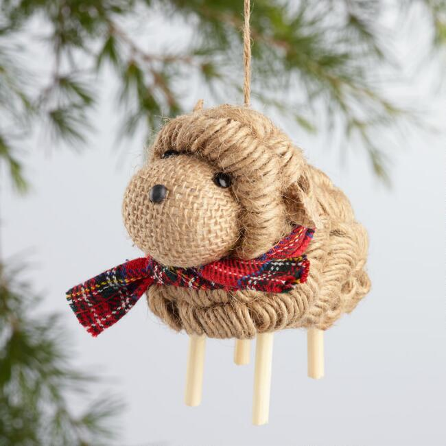 Jute Sheep with Scarf Ornaments Set of 2