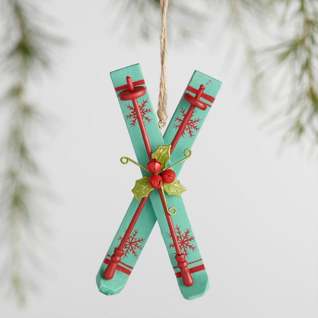 Wood Ski with Holly Ornaments Set of 3