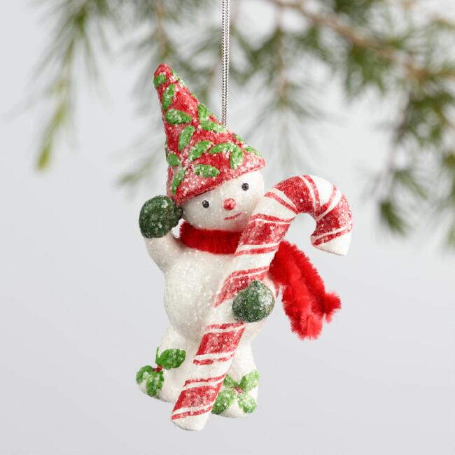 Paper Pulp Snowman with Candy Cane Ornament