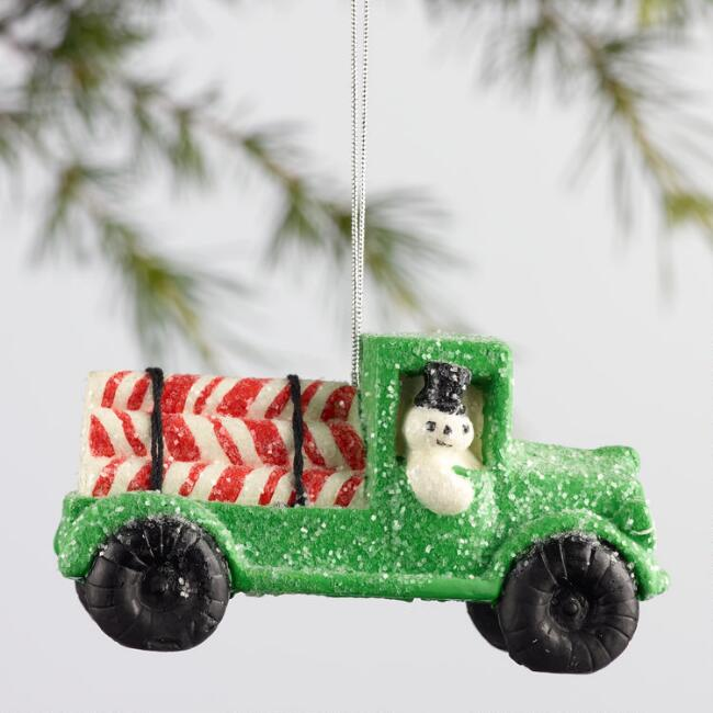 Paper Pulp Candy Cane Truck Ornament