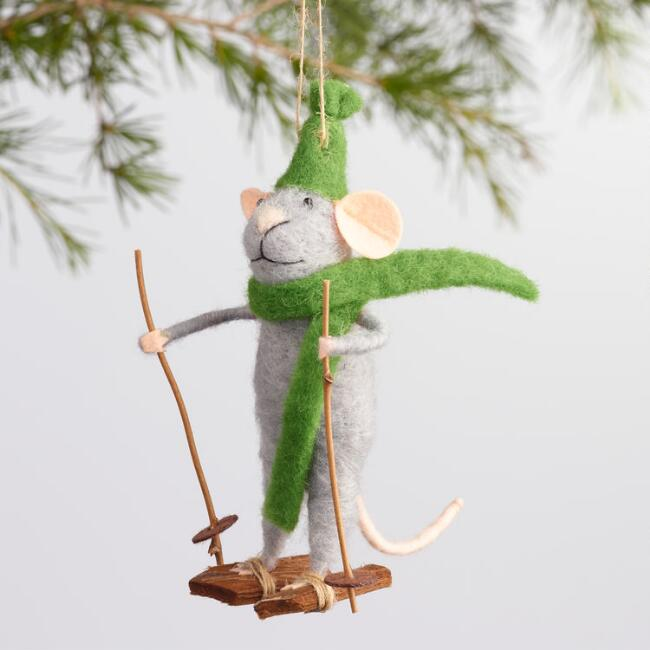 Felt Mice on Skis Ornaments Set of 3