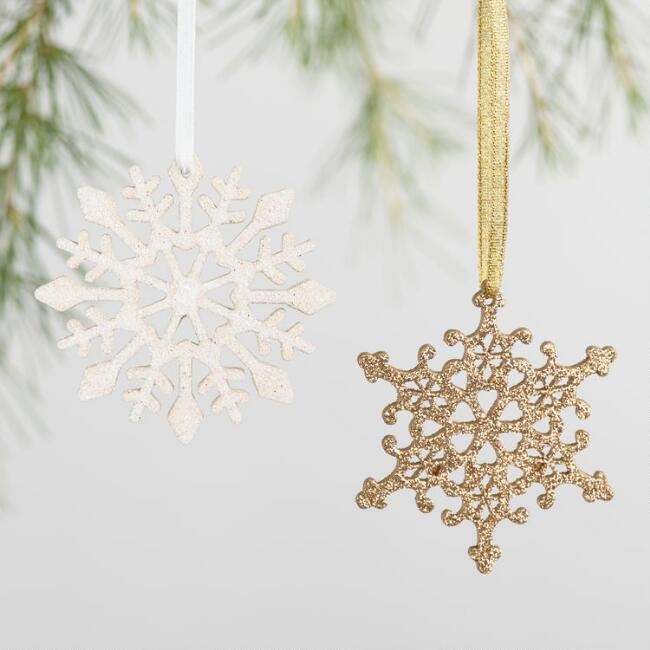 Glittered Wood Snowflake Boxed Ornaments Set of 24