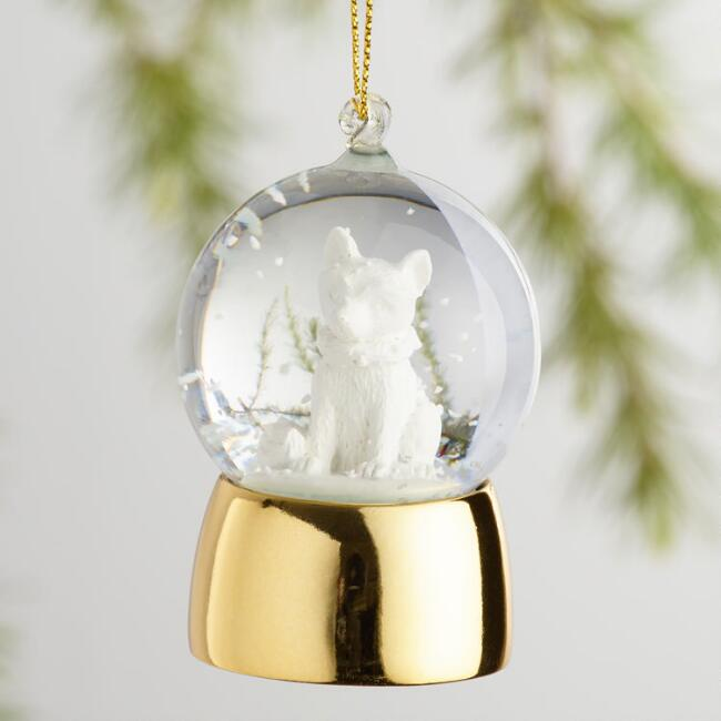 Glass Woodland Creature Snow Globe Ornaments Set of 4