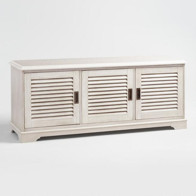Whitewash Wood Media Stand with Louvered Door