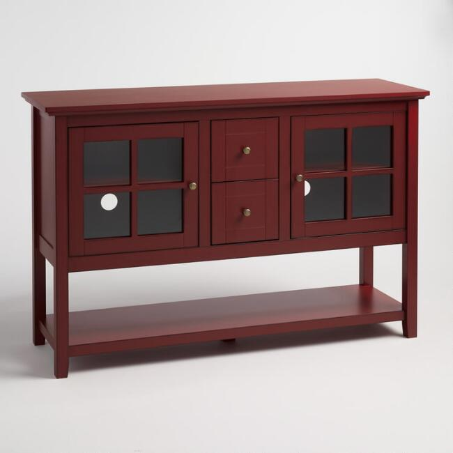 Antique Red Wood Caleb Media Stand