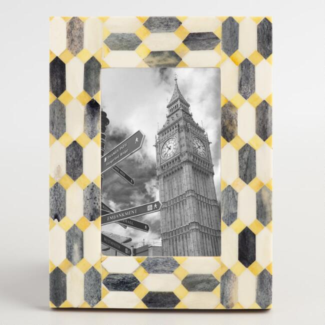 Yellow and Gray Geometric Bone Frame
