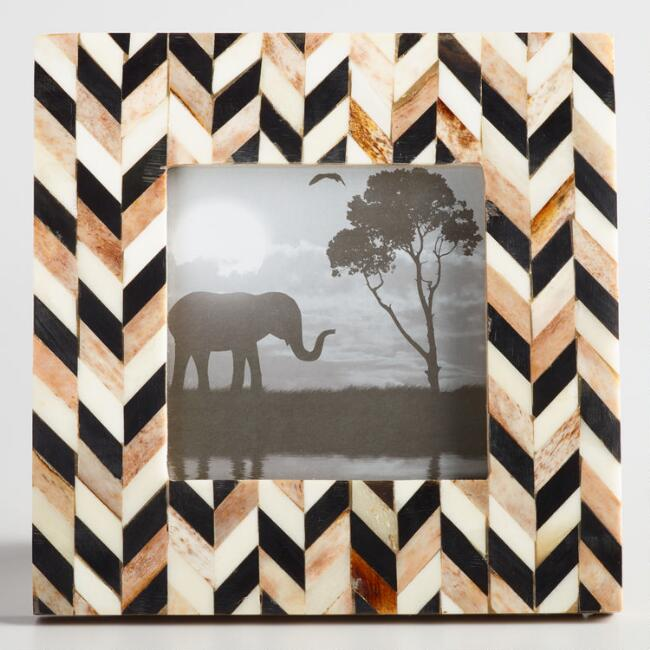 Neutral Chevron Bone and Wood Frame