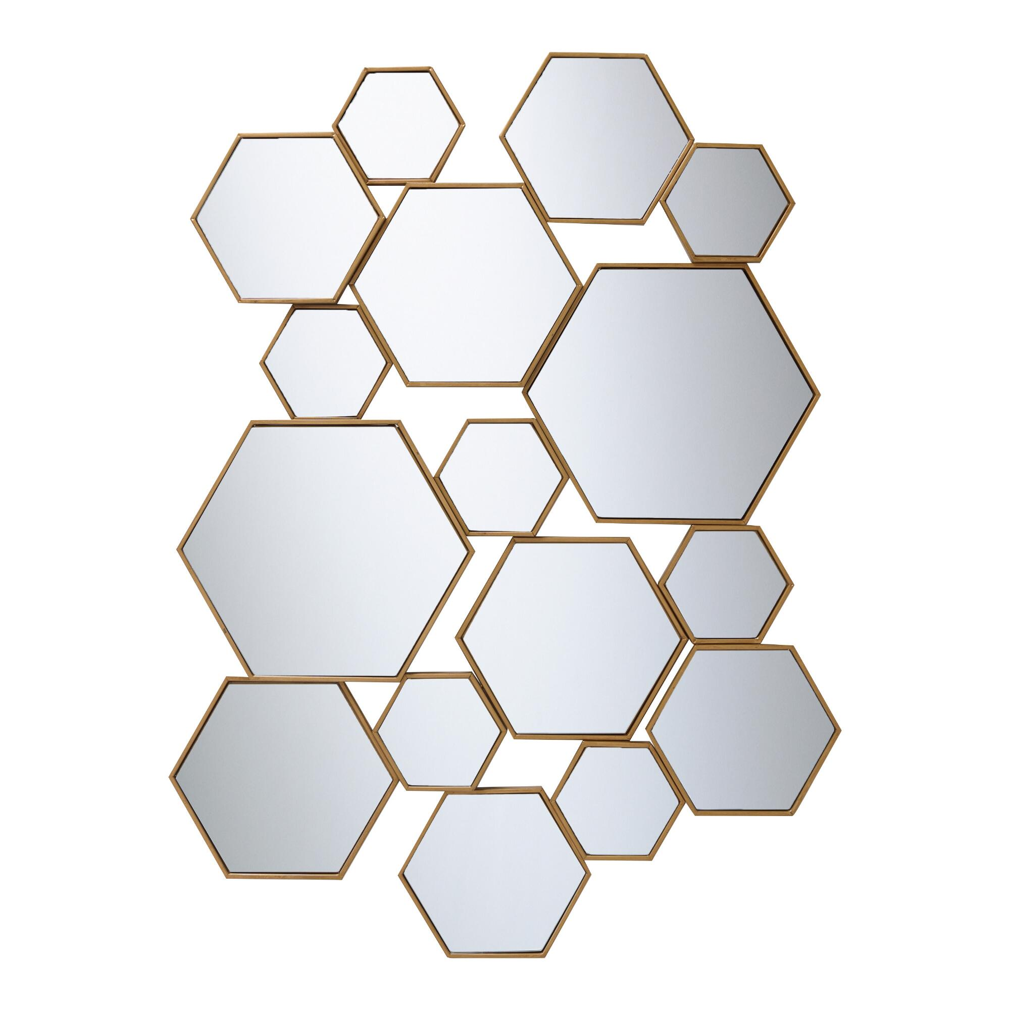 Brass Metal Hexagon Mirror Panel: Metallic/Gold by World Market