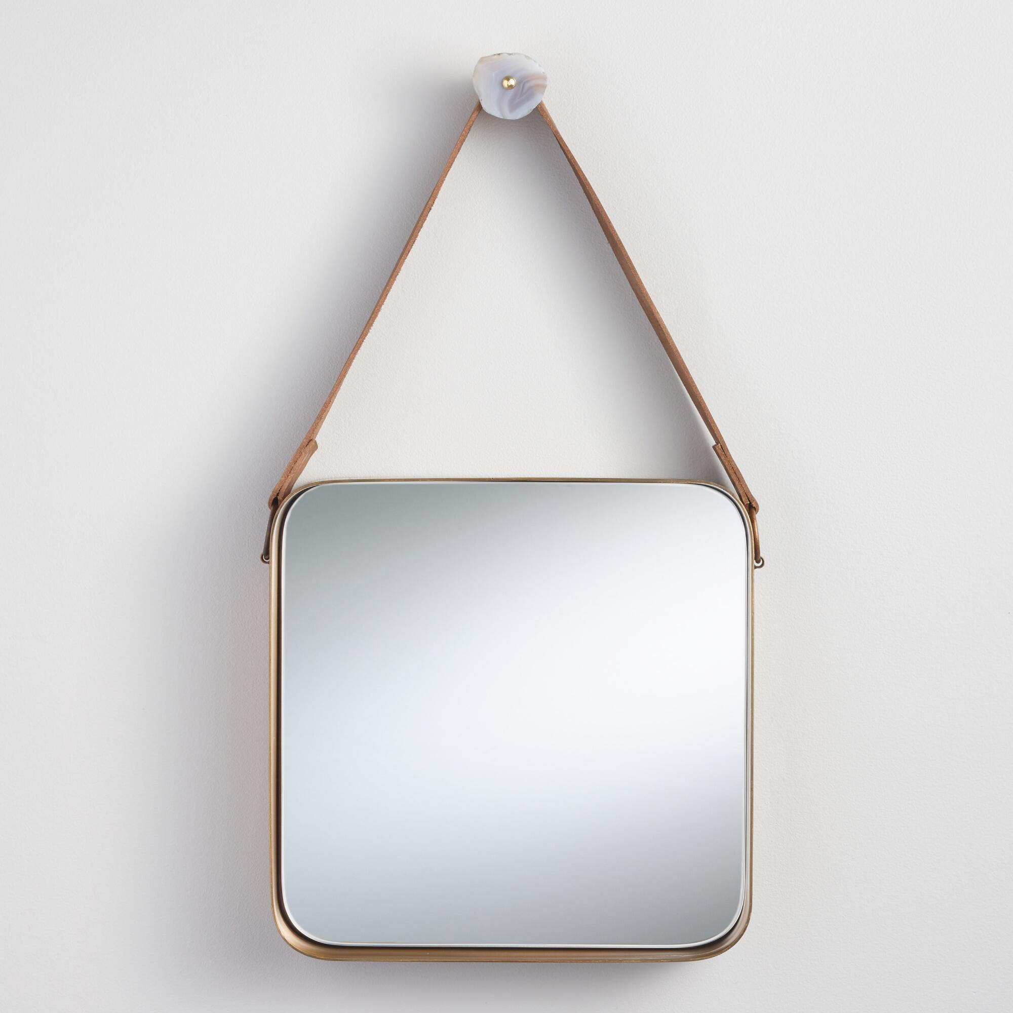 Brass metal mirror with leather strap world market amipublicfo Gallery