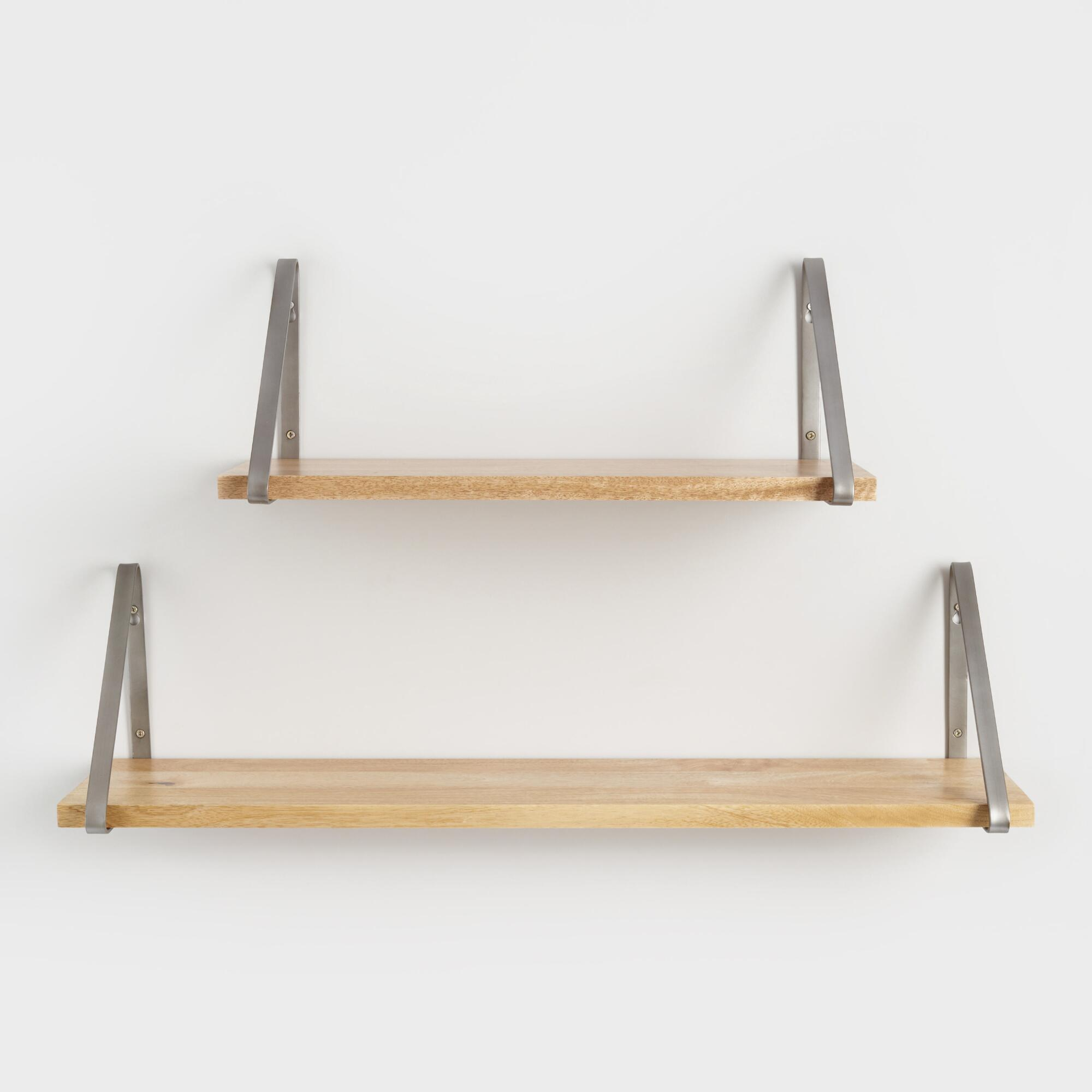 Wall shelves storage and racks world market natural wood mix match wall shelf collection amipublicfo Gallery