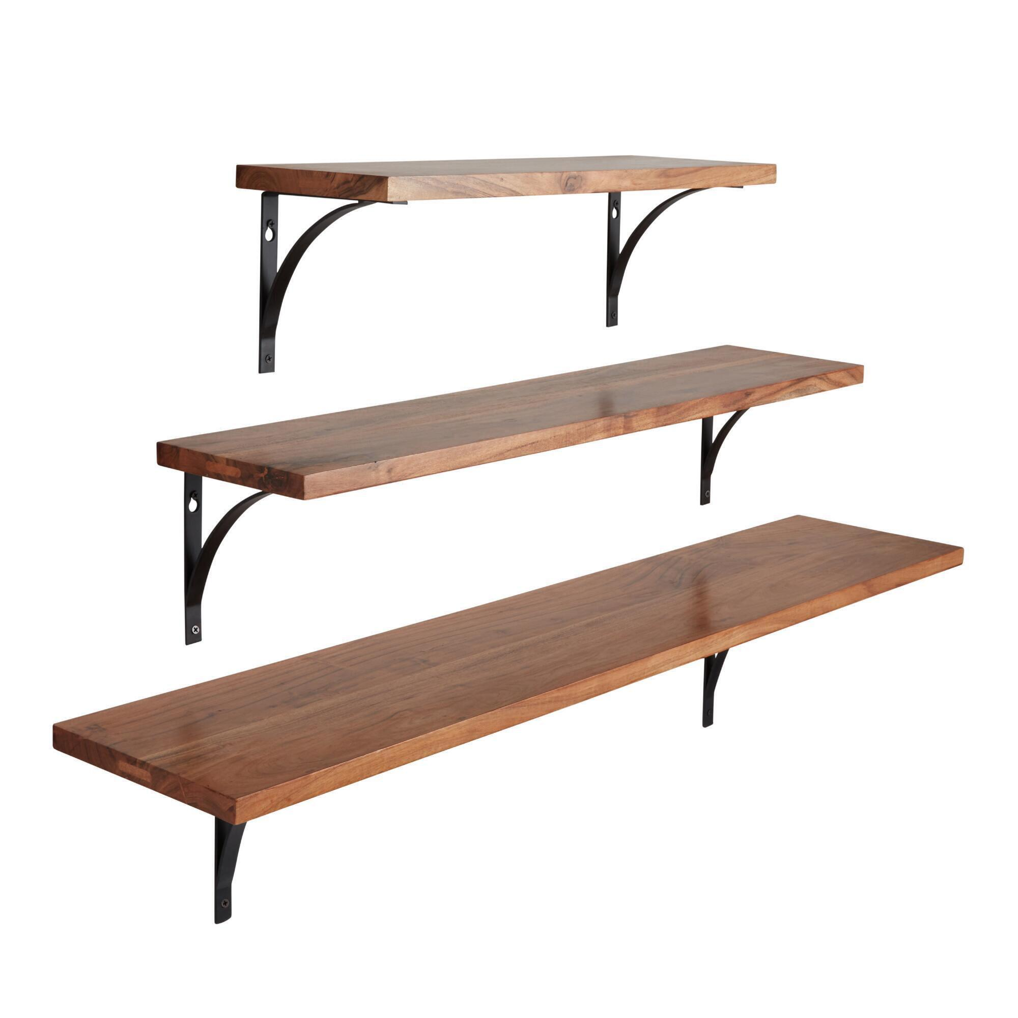 Black metal mix match shelf brackets set of 2 world market amipublicfo Gallery