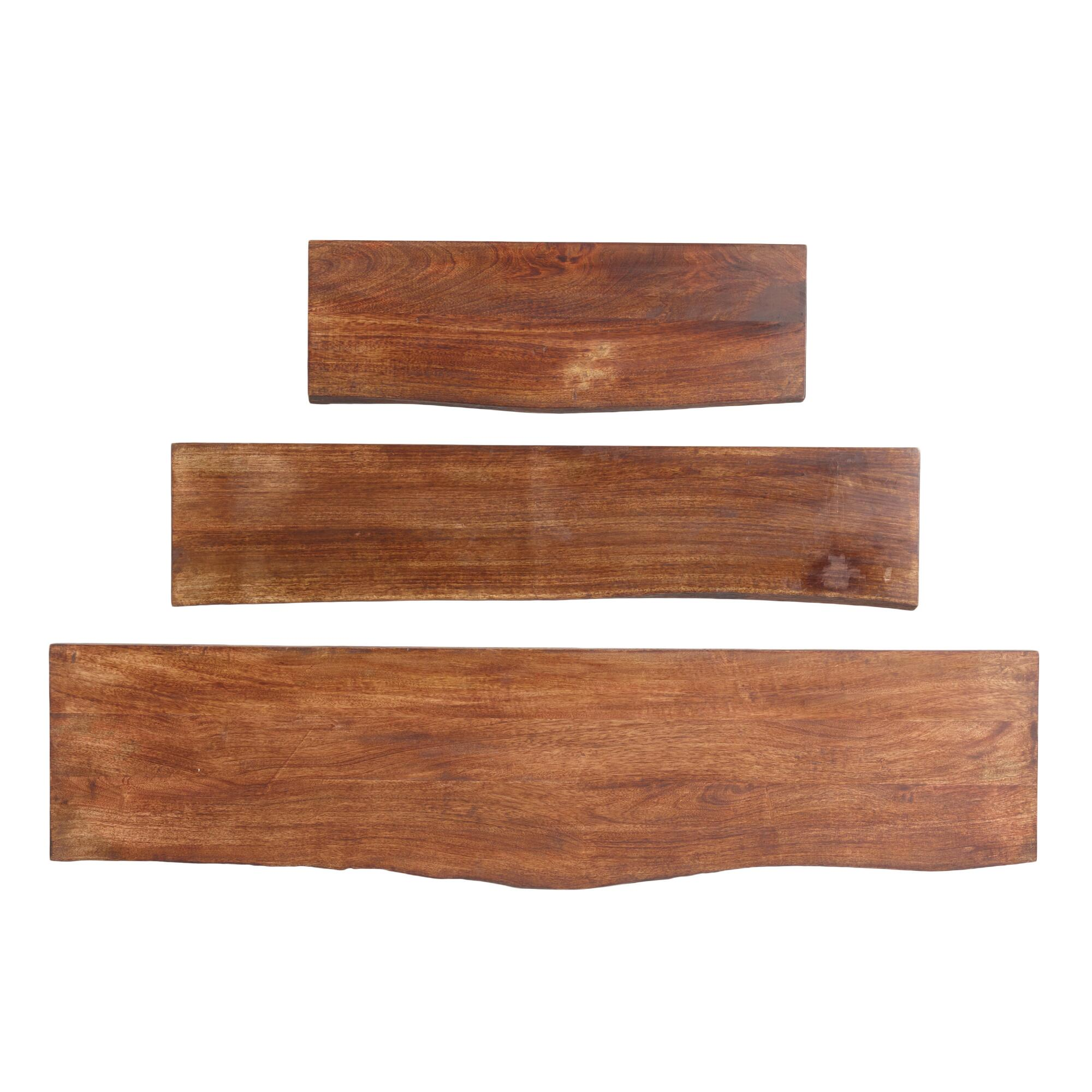 Organic Edge Wood Mix & Match Wall Shelves: Brown - 3Ft by World Market 3Ft
