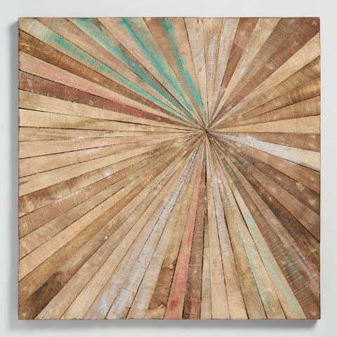 Antiqued Sunburst Wood Panel Wall Decor | World Market
