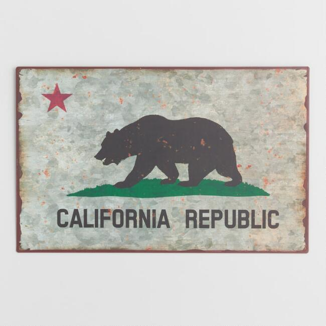 California Republic Distressed Metal Sign