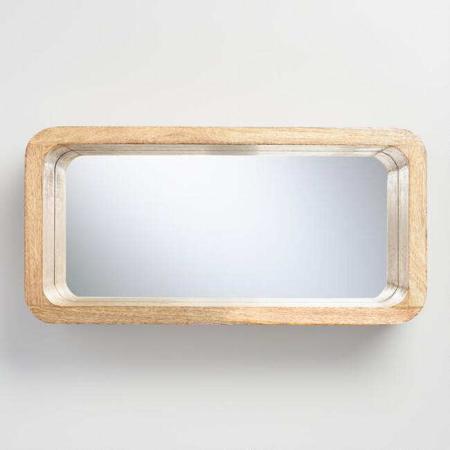 Natural Wood Hadley Shelf with Mirror