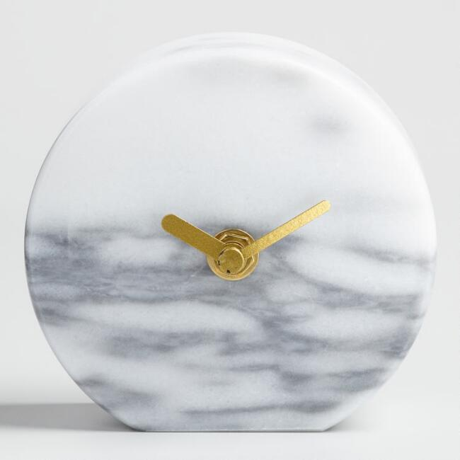 Round Gray Marble Tabletop Clock