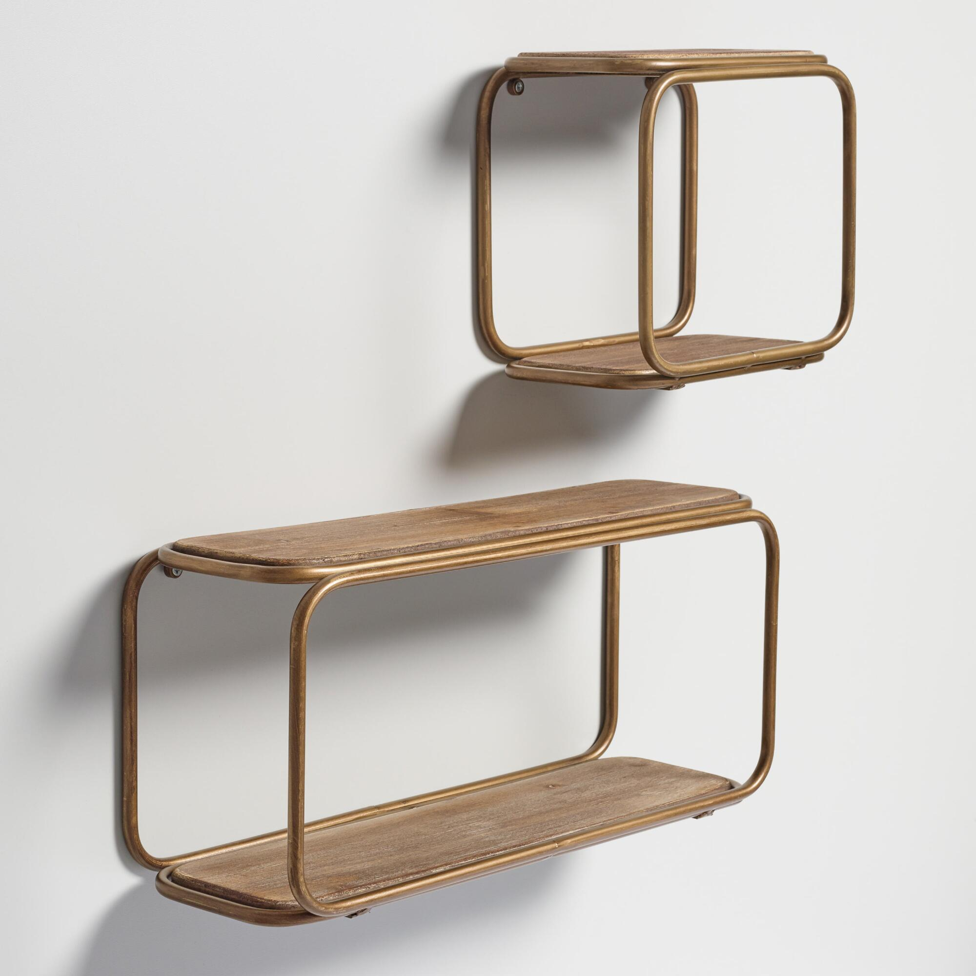 Wall mounted shelves and wall cubbies world market wood and brass metal wall storage amipublicfo Images