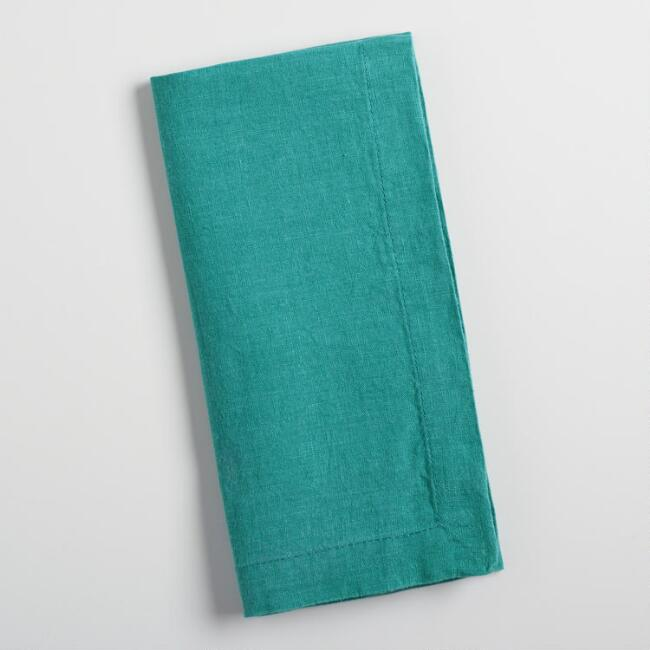 Teal Linen Napkins Set of 4