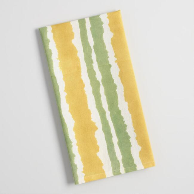 Green and Yellow Stripe Block Print Ilona Kitchen Towel