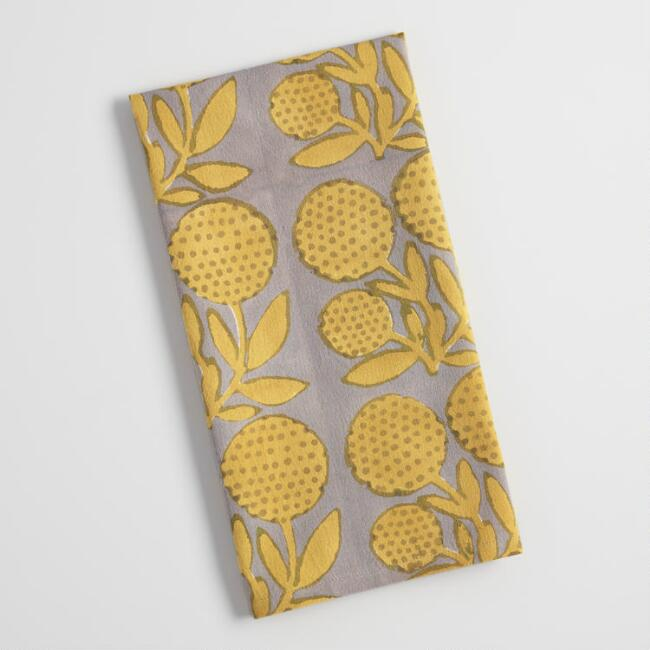 Gray and Green Floral Block Print Steffi Kitchen Towel