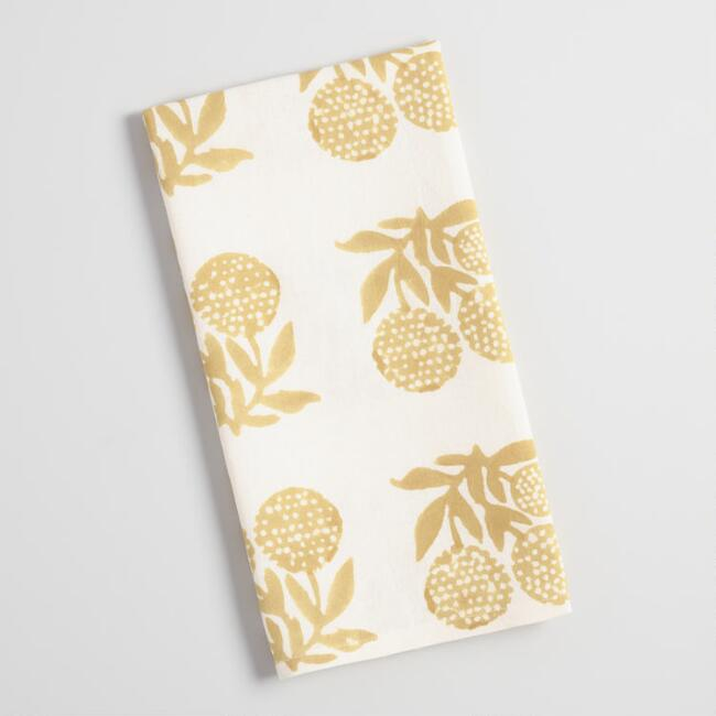 Ivory and Green Floral Block Print Steffi Kitchen Towel