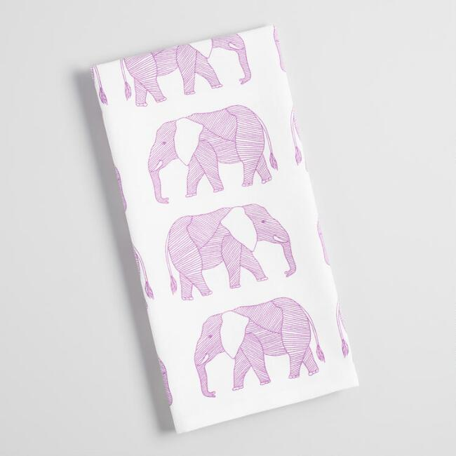 Purple Elephants Kitchen Towel