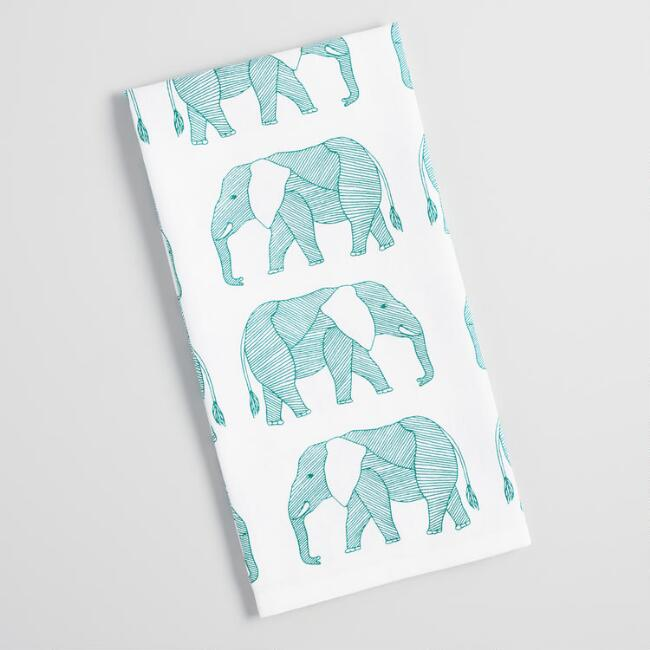Teal Elephants Kitchen Towel