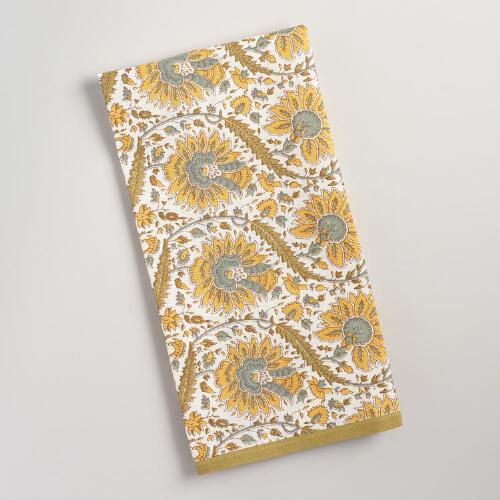Green Floral Ogee Kitchen Towel