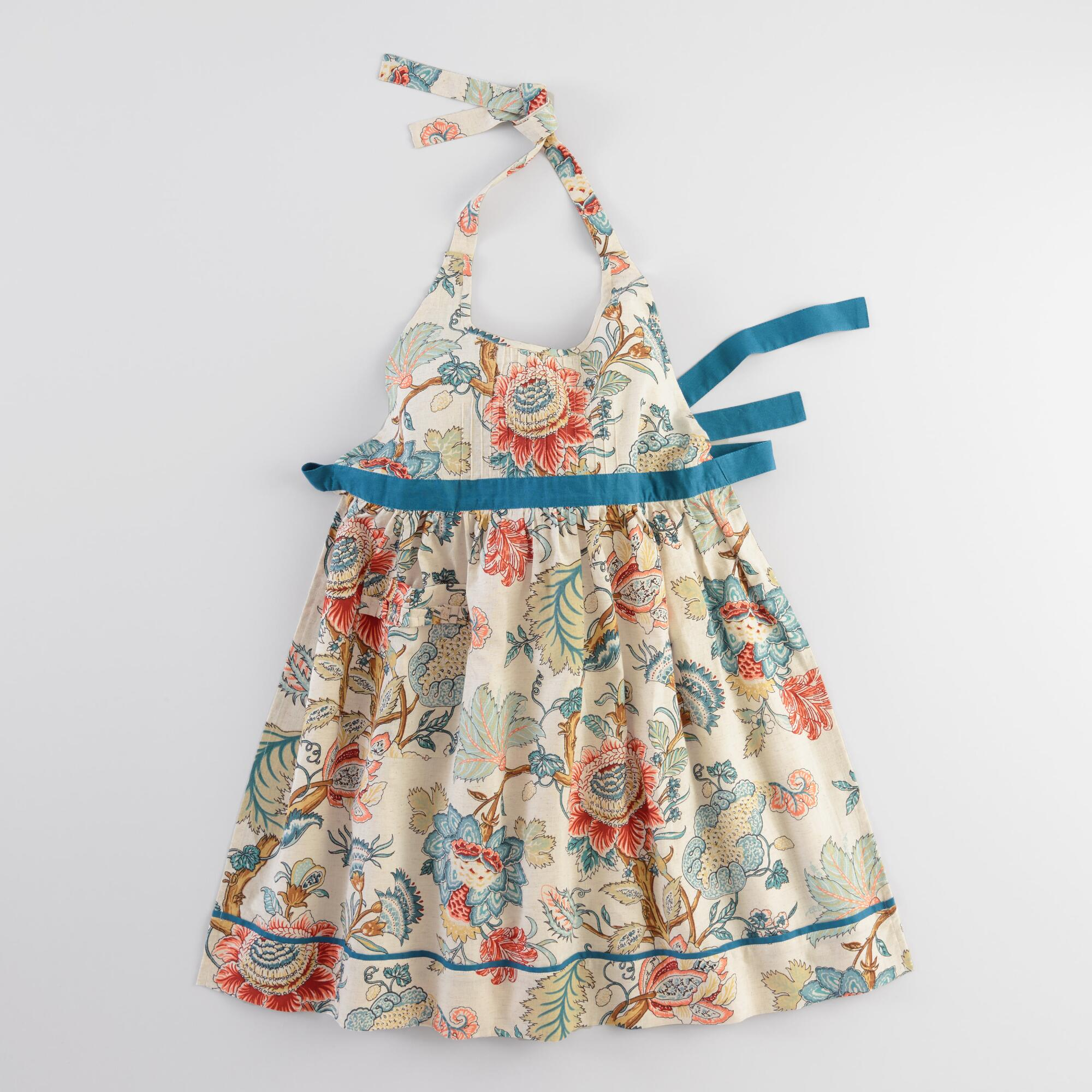 Vintage Aprons, Retro Aprons, Old Fashioned Aprons & Patterns Blue Palampore Anika Apron - Cotton by World Market $19.99 AT vintagedancer.com