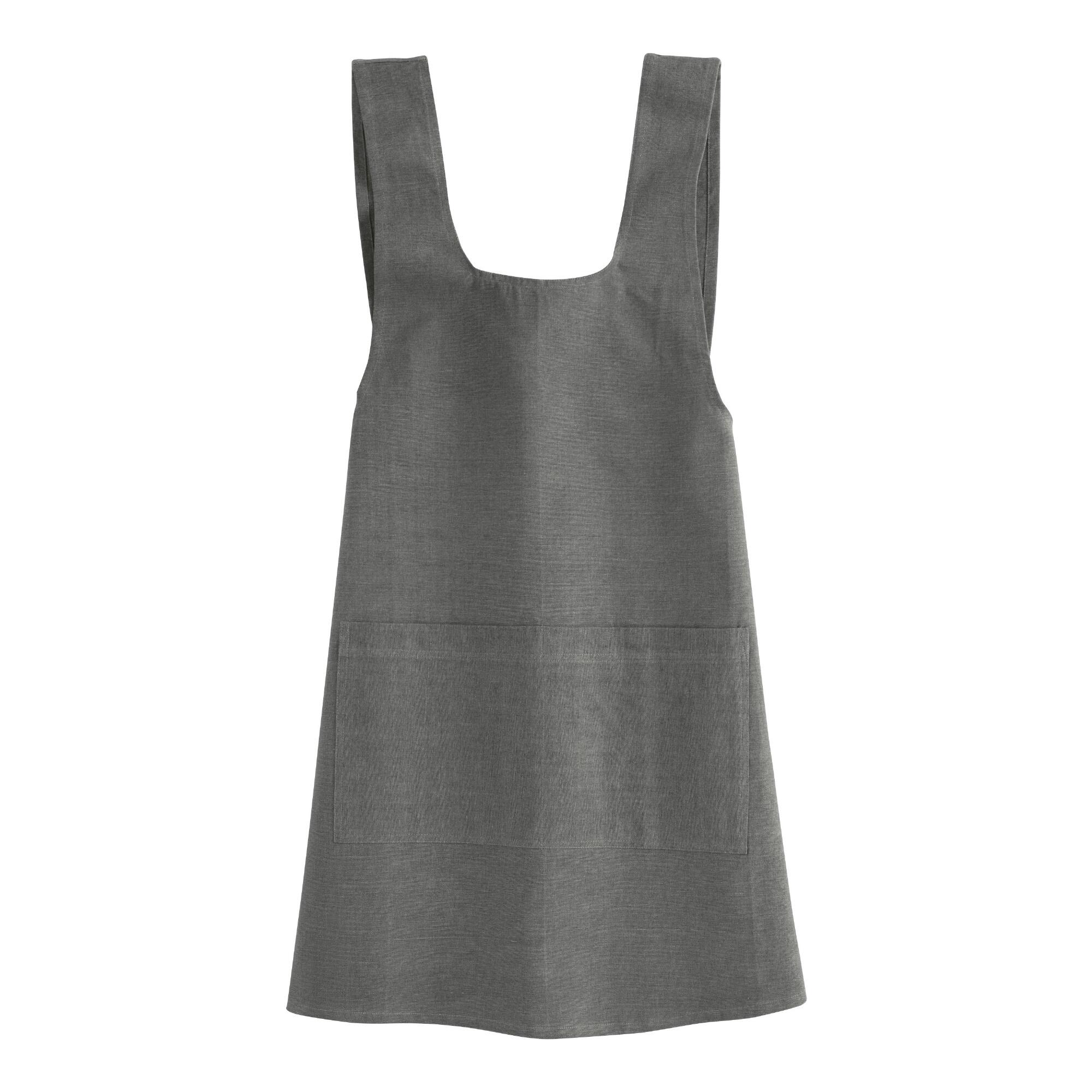 Vintage Aprons, Retro Aprons, Old Fashioned Aprons & Patterns Gray Washed Cotton Smock by World Market $19.99 AT vintagedancer.com