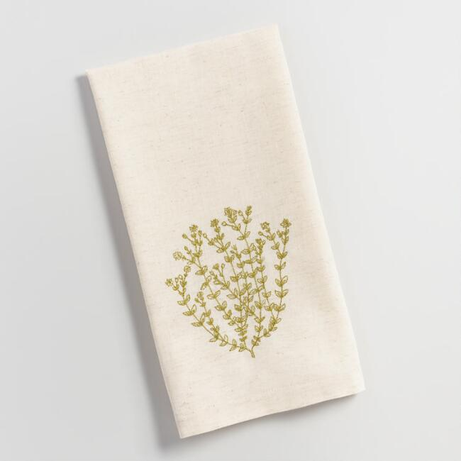 Embroidered Thyme Kitchen Towel