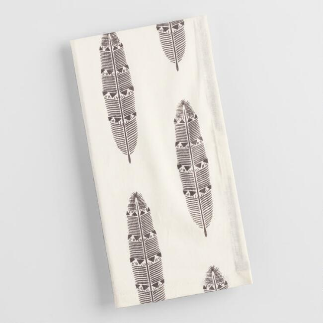 Black and White Feather Napkins Set of 4