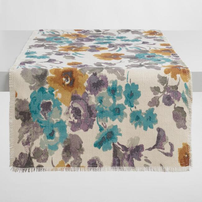 Oversized Gretchen Floral Jute Table Runner