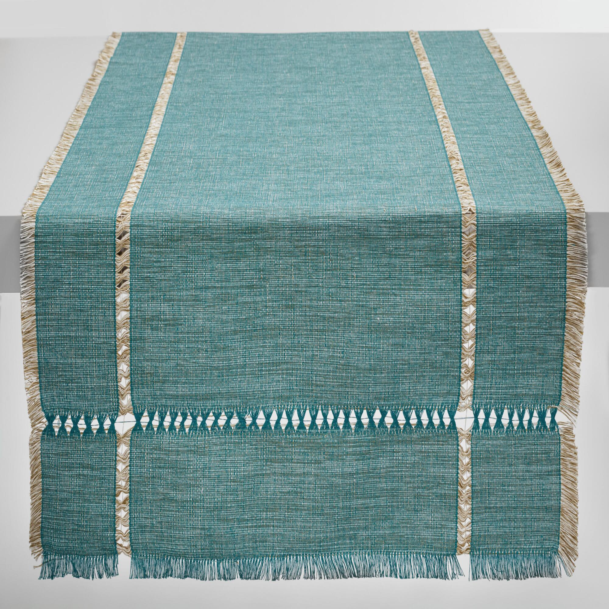 Bamboo Black Table Runner 72 Inches Checkered Kitchen Linen Dining - Oversized teal melange khadi table runner