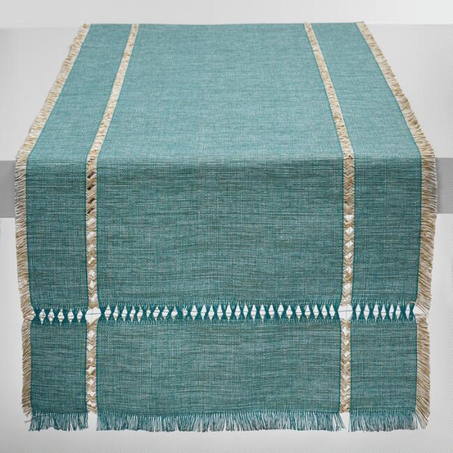 Oversized Teal Melange Khadi Table Runner