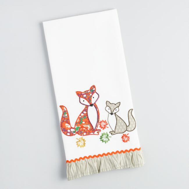 Foxes and Leaves Embroidered Kitchen Towel