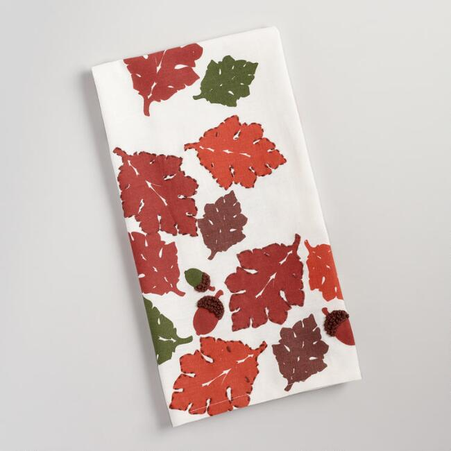 Fall Leaves and Acorns Embroidered Kitchen Towel