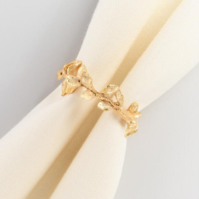 Gold Leaf Napkin Rings Set of 4