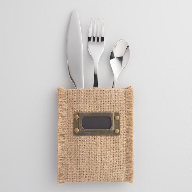 Jute Utensil Pouches with Labels Set of 4