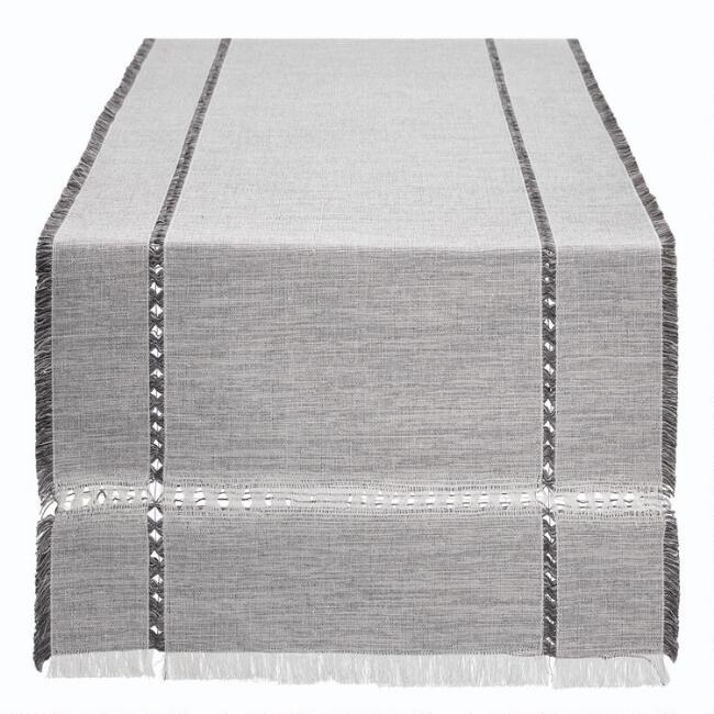 Oversized Gray Melange Khadi Table Runner