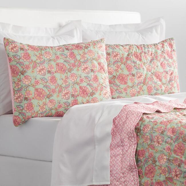 Aqua and Pink Ilsa Floral Bedding Collection