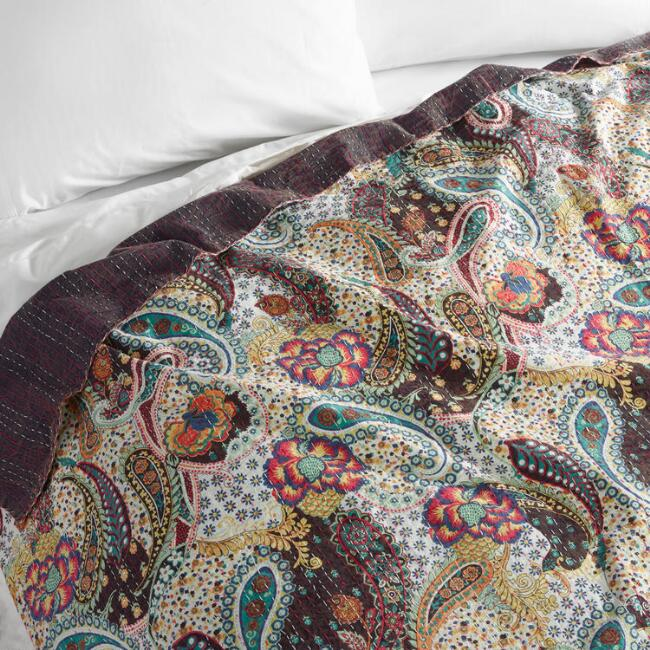 Paisley Kantha Embroidered Indra Coverlet