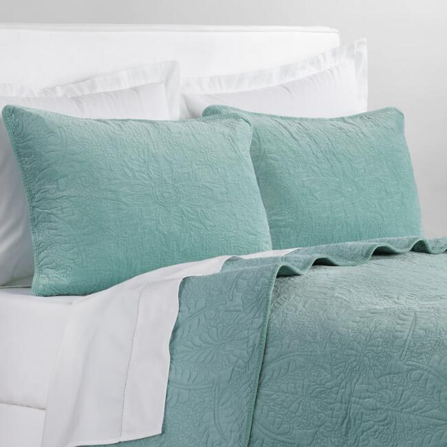 Ocean Blue Velvet Bedding Collection