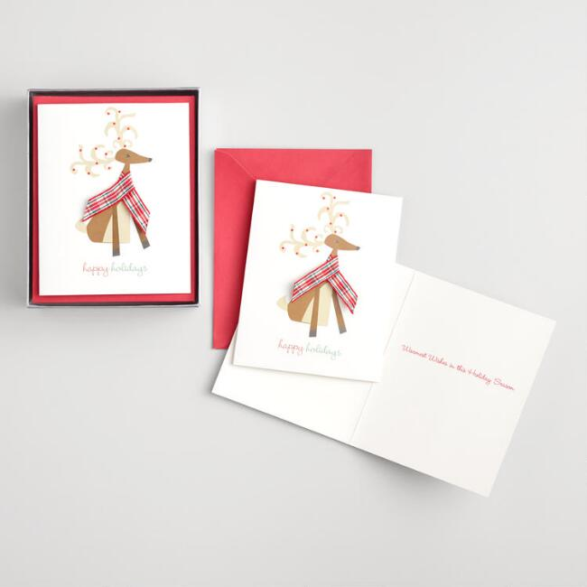 Reindeer with a Scarf Boxed Holiday Cards Set of 15