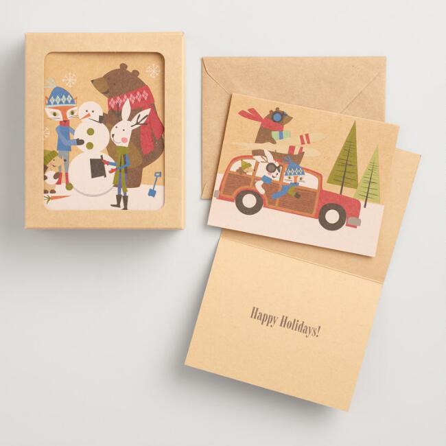 Fox and Hare Kraft Boxed Holiday Cards Set of 16
