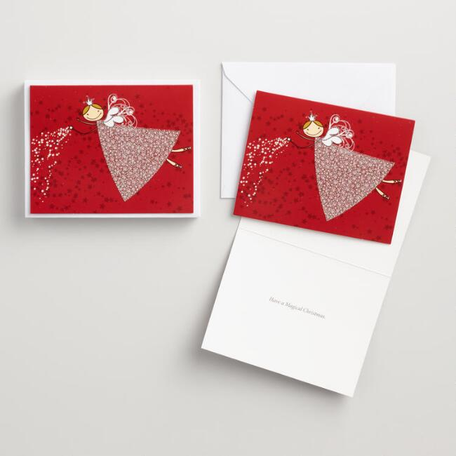 Glitter Angel Boxed Holiday Cards Set of 15