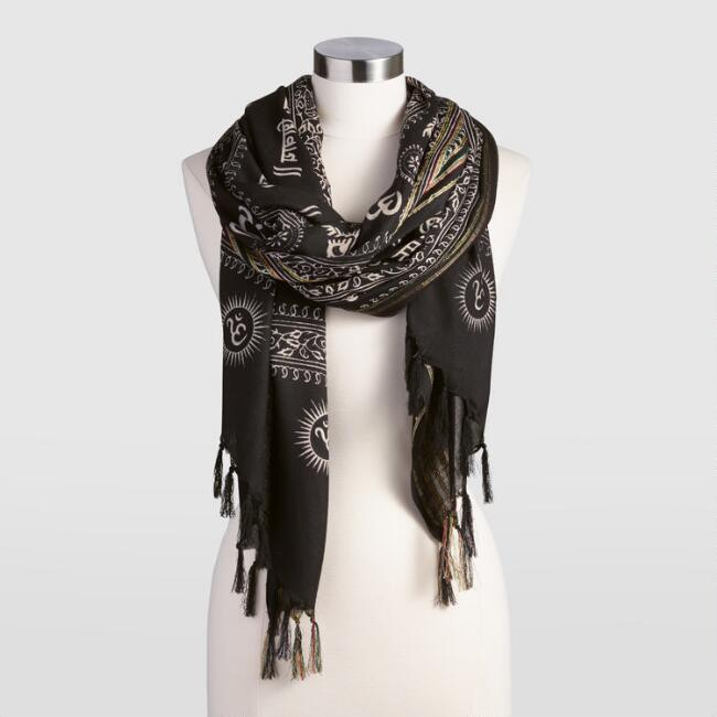Oversized Black Embroidered Prayer Shawl